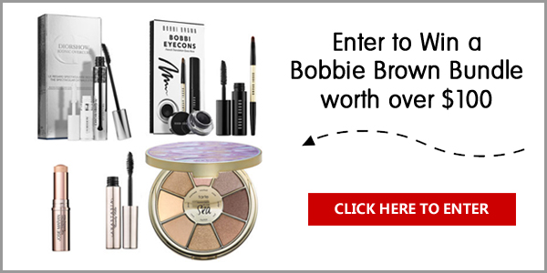 Enter to win Bobbie Brown bundle that includes Bobbi Brown Bobbi's Eyecons, Dior Diowshow Iconic Overcurl Set, Tarte Rainforest of the Sea Eyeshadow Palette, Anastasia Beverly Hills Brow Gel, and Josie Maran Argan Enlightenment Illuminizing Browbone Highlighting Wand