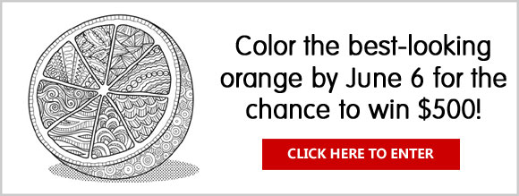 Color the best-looking orange by June 6 for the chance to win big from Food Network Magazine. One grand prize winner will receive $500, and three runners-up will each receive $50.