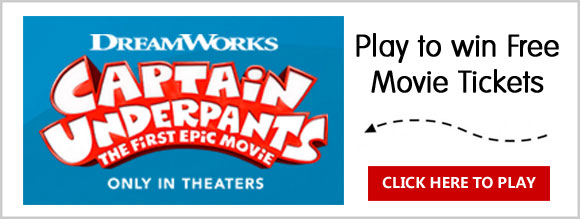 Play Sun-Maid's Captain Underpants Instant Win Game for your chance to win 1 of 5,000 pairs of Free movie tickets to see the Captain Underpants movie for free.