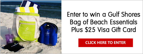 Click Here for your chance to win a Gulf Shores Bag of Beach Essentials (Value of $100) Plus $25 Visa Gift Card.
