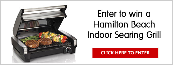 Enter for your chance to win a Hamilton Beach Indoor Searing Grill. The indoor grill is perfect for people that enjoy grilling but lack the time or space for a charcoal or gas grill. The searing grill's high-heat searing temperature locks in juices and flavor, giving your meat better taste, texture, and appearance. Its unique hooded design helps keep in flavor to give your food that authentic outdoor grilled taste.