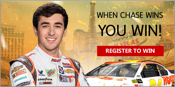 When Chase Elliott wins, you win free Hooters food coupons all racing season long - like free MTN DEW when the No. 24 Chevy finishes in the Top 5, and free select appetizers when he takes first place. Plus, you might win a trip for you and a friend to meet Chase Elliott at the Hooters Casino in Las Vegas.