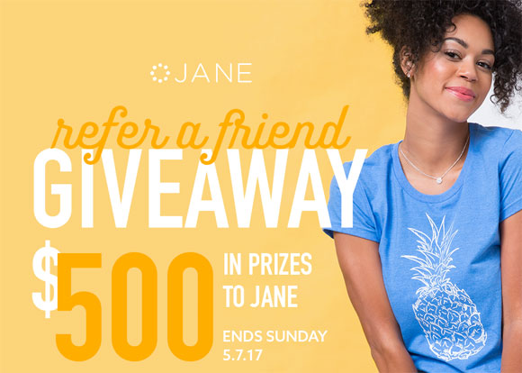Celebrate your friendship with this week's Jane.com giveaway! $500 in Jane shopping credit is up for grabs. The more you share, the more chances you have to win! 5 winners will each receive $100 Jane shopping credit ($50 for you + $50 for your friend).