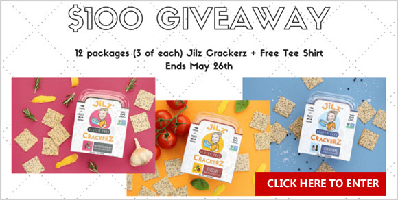 Enter for a chance to win a case of Jilz Crackerz (12 packages - 4 of each of three flavors, Sea Salt & Cracked Pepper, Tuscan, and Mediterranean) and a Jilz t-shirt - $100 total value from Paleo Epic