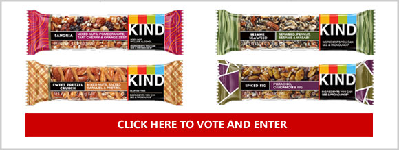 Vote for your favorite KIND bar flavor for your chance to win two Free bars of the winning flavor - Sangria, Sesame Seaweed, Sweet Pretzel Crunch, or Spiced Fig