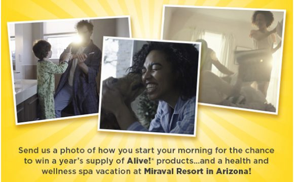 Share a photo of how you start your morning for the chance to win a health and wellness spa vacation to Miraval Resort in Arizona and a year's supply of Alive! products