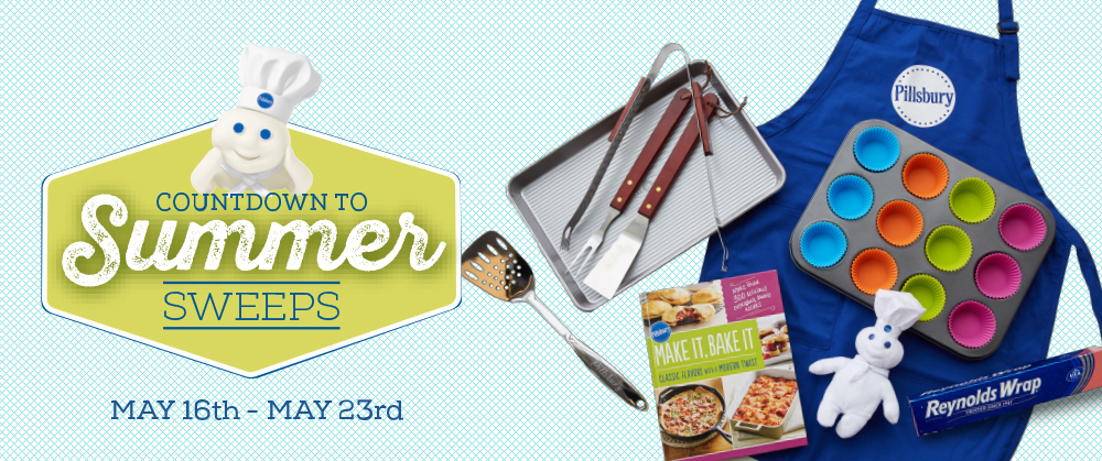 Enter for a chance to win 1 of 10 Pillsbury prize packs that includes a cookbook, baking sheet, kitchen utensils and more. Increase your chances by signing up daily from May 16 - May 23, and each day we'll reveal a tasty summer recipe to get you even more excited for the season!