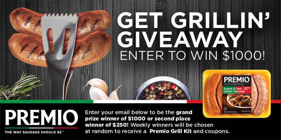 Premio Foods is hosting a sweepstakes to make this summer the best one yet! Simply enter your name, email address and zip code for the chance to be the grand prize winner of $1000 or second place winner of $250! Weekly winners will be chosen at random to receive a Premio Grill Kit and coupons.