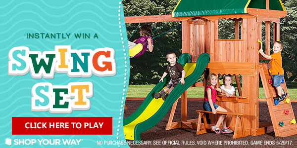 Shop Your Way Best Backyard Swing Set Instant Win Game 5 29 17