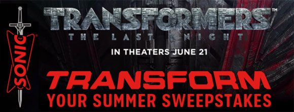 Get your Sonic Game Code and Play the Sonic Transform Your Summer Instant Win Game for your chance to win 1 of 1,000 SONIC gift cards or FREE Transformers The Last Knight movie tickets instantly.