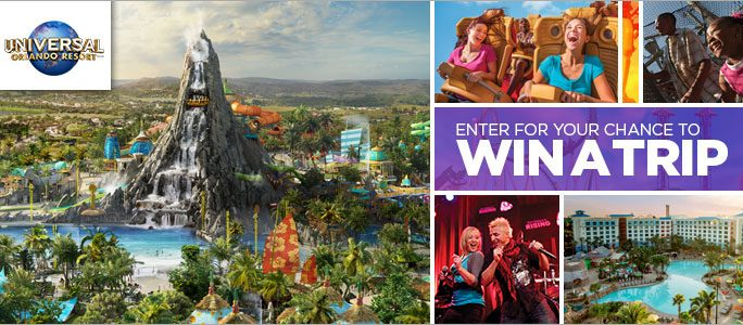 Enter for your chance to win a  trip for 4 to Universal Orlando Resort with admission to Universal Studios Florida™ and Universal's Islands of Adventure™ theme parks, plus the all-new Universal's Volcano Bay™ water theme park and tickets to Blue Man Group at Universal Orlando Resort™