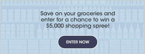 Want to win big and save? Enter Valpak's Great Grocery Giveaway for a chance to win a $5,000 shopping spree (awarded in the form of a check)