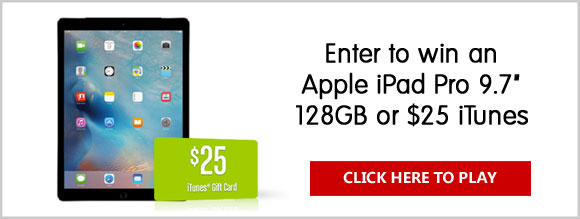 """Enter the VSP EnVision Sweepstakes for your chance to win the grand prize, an Apple iPad Pro 9.7"""" 128GB Wi-Fi. Also, come back daily to play our Matching Game for your chance to win one of the $25 iTunes instant win prizes."""