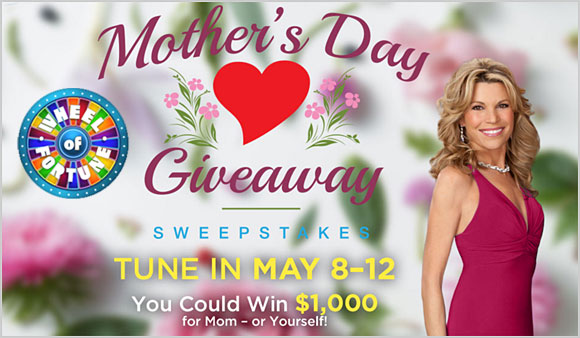 Answer the Wheel of Fortune Mother's Day puzzle today and you could win $1,000 in cash. Come back everyday for the daily Wheel of Fortune puzzle answer for your chance to win