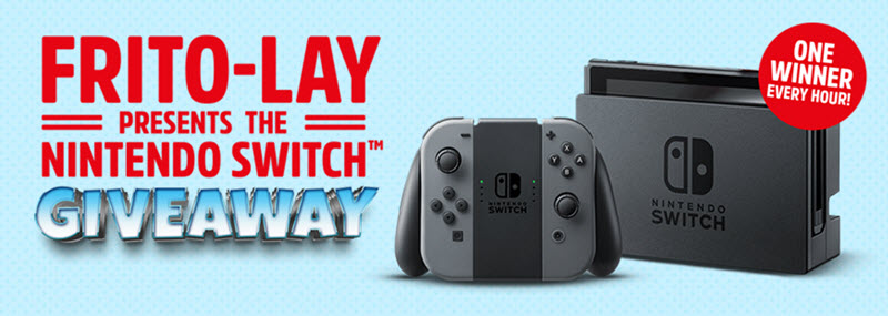 One Per Hour! Win a Nintendo Switch Instantly from Frito-Lay Enter Frito-Lay game codes for your chance to win a Nintendo Switch Instantly in theFrito-Lay Variety Pack Instant Win Game, Hourly prizes will be given away until July