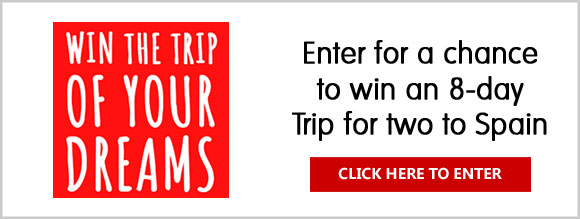 Enter for a chance to win the 8-day Grand Prize Trip for two to Spain