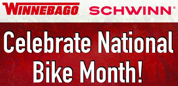 The two iconic American brands, Winnebago and Schwinn, are partnering to celebrate National Bike Month by giving away daily prizes the entire month of May including bicycles, biking accessories, and Winnebago Outdoor gear! So get out and celebrate National Bike Month with Winnebago and Schwinn! No matter what you're looking for, Schwinn has a bicycle and gear for you!