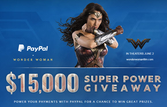 PayPal is giving away $15,000 in cash PLUS FREE Wonder Woman movie tickets and $100 Hulu gift cards.