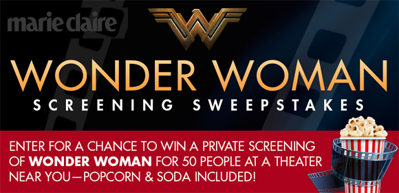 Enter for a chance to win a private screening of Wonder Woman for 50 people at a theater near you plus popcorn and soda are included or one of ten HSN merchandise packages
