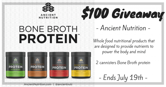 Click Here to Enter for a chance to win 2 canisters of Ancient Nutrition Bone Broth Protein™. Total value of $100