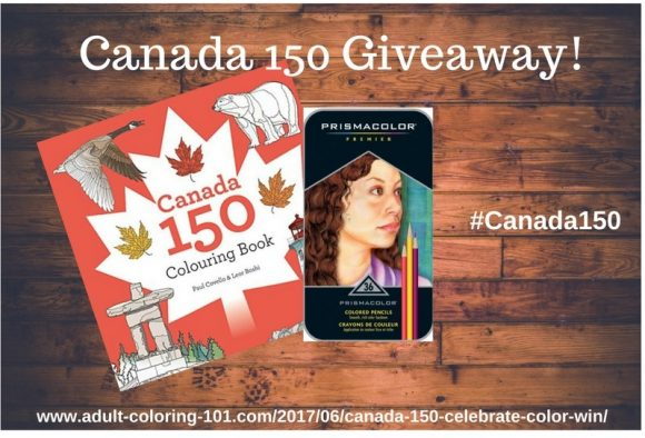 Click Here for your chance to win a copy of the Canada 150 Colouring Book and set of Prismacolor Premier Pencils 36-count.Celebrate Canada's birthday with 150 scenes from Paul CovelloandLeor Boshithat illustrate the beauty of the country. This book has 150 designs on 300 pages.