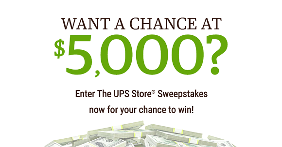 The UPS Store is giving away $1,000 to an insider (like you) every month through the end of 2017. Plus one lucky winner will walk away with their $5,000 year-end grand prize.