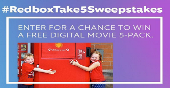 Enter for your chance to win a Free Redbox Digital Movie 5-pack in theRedbox Take 5 Sweepstakes - 50 Winners!