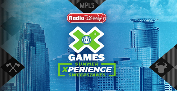 One lucky Radio Disney fan will have the summer Xperience of a lifetime! You'll travel to Minneapolis for X Games and see all the action first hand inside US Bank Stadium's Lookout Lounge to see all BMX, Moto X and skateboard events! You will also have Xclusive tickets to see performances at the X Games Music Stage