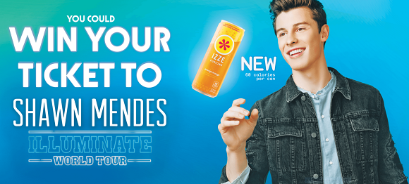 Izze fusions shawn mendes sweepstakes 59 trip prizes 716 1ppd13 click here to enter for your chance to win free tickets and a free trip to m4hsunfo