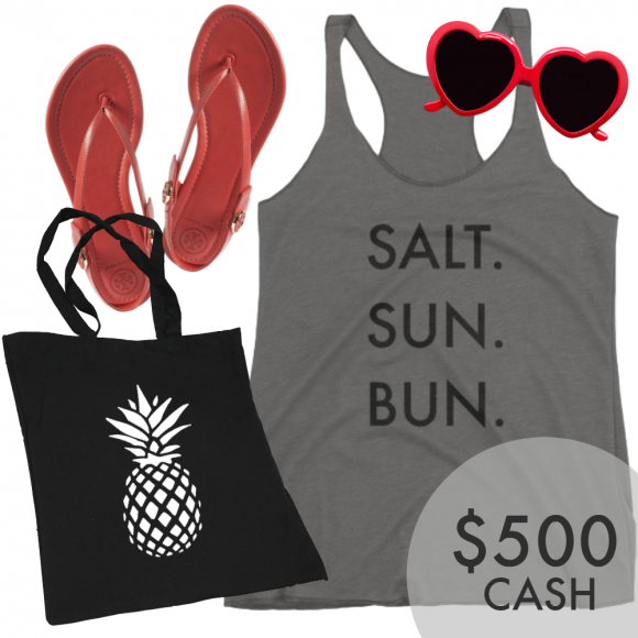 Enter for a chance to win our Summer Essentials Prize Pack including Salt.Sun.Bun Tank, Sunnies, Tory Burch Sandals, Pineapple Tote, and $500 in Paypal Cash. Prize valued at $650