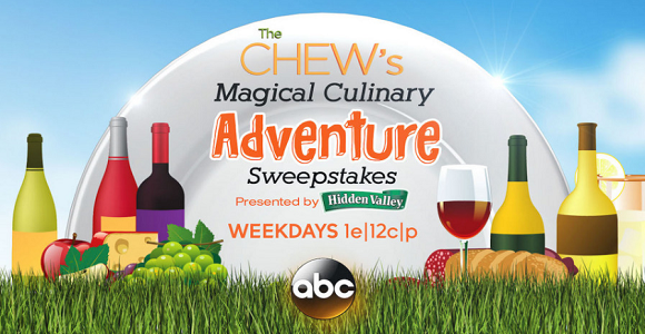 The Chew wants to send a winner and 3 Guests to the Walt Disney World Resort in Florida to experience the Epcot International Food & Wine Festival. The winner can check out brand-new marketplaces, menu items, premium experiences and entertainment at the Festival. Visit all four not to be missed Theme Parks, attend a live taping of The Chew, and stay at a Walt Disney World hotel located in the middle of the magic.