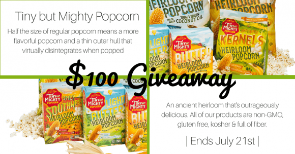 Enter for a chance to win $100 worth of Tiny But Mighty Popcorn.