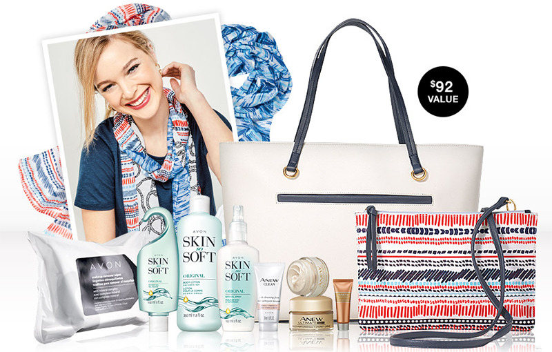 Enter for your chance to win 1 of 5 Saffiano travel totes filled with Avon products from Anew, Skin So Soft plus a Nautical scarf.