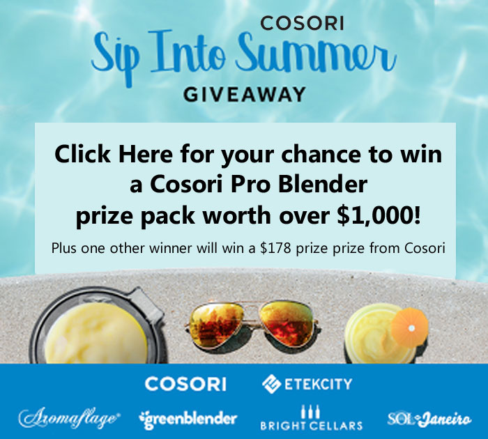 Click Here for your chance to win a Cosori Pro Blender prize pack worth over $1,000.