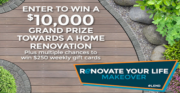 CLICK HERE to enter for a chance to win eLEND's #RenovateYourLife sweepstakes! Each week, a $250 gift card will be awarded toward a home renovation, and a grand prize drawing for $10,000 will be drawn July 27