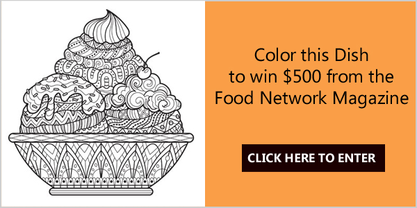 Color the best-looking sundae for the chance to win big from Food Network Magazine. One grand prize winner will receive $500, and three runners-up will each receive $50.