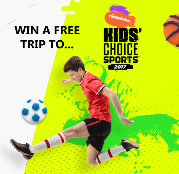 Enter for a chance to win a trip to Nickelodeon's Kids' Choice Sports Awards and a dream day activity in Los Angeles, California