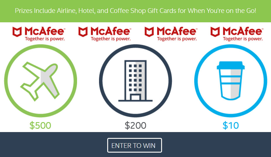 Enter for a chance to win a $500 gift card to airline of your choice, $200 gift card to Hotels.com or $10 gift card to Starbucks.