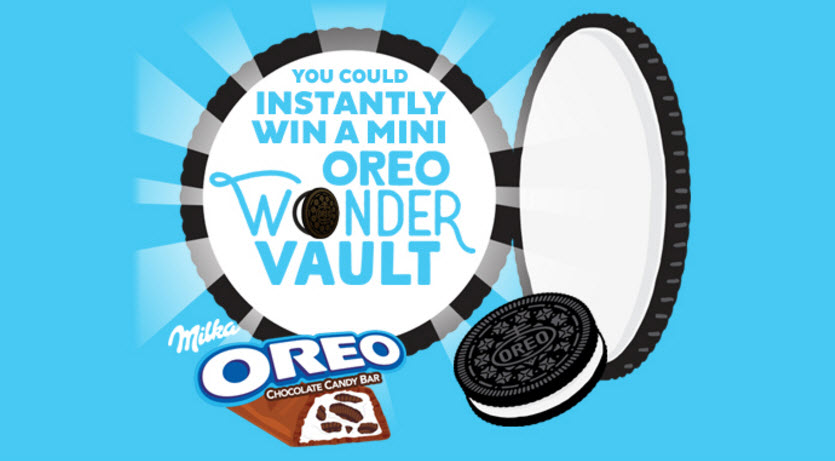 Play daily for a chance to WIN 1 of 85 Mini OREO Wonder Vaults filled with OREO Cookies and Milka OREO Chocolate Candy Bars
