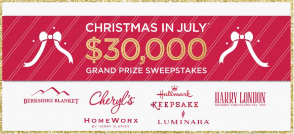 Enter QVC's Christmas in July Sweepstakes once every 24 hours for a chance to win fabulous weekly prizes from Luminara, HomeWorx by Harry Slatkin, Berkshire Blanket, Hallmark, Harry London & Cheryl's. Each entry also counts toward the grand prize of $30,000.