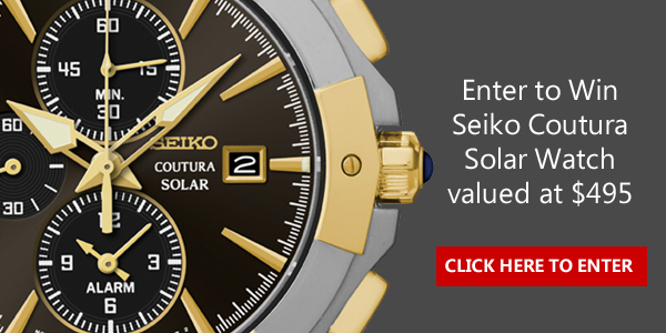 Click Here for your chance to win a Seiko Men's Coutura Solar Perpetual Chronograph Watch worth $495 from Samuels Jeweler