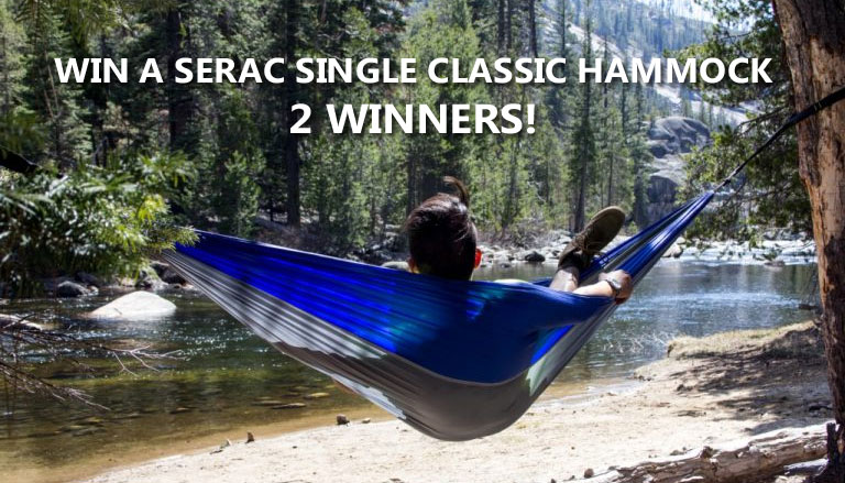 Click Here for your chance to win a Serac Single Classic Hammock - 2 winners. Time to ditch the heavy tent. You'll be able to enjoy the open air, whether you're camping or just setting it up in your back yard to read a book.