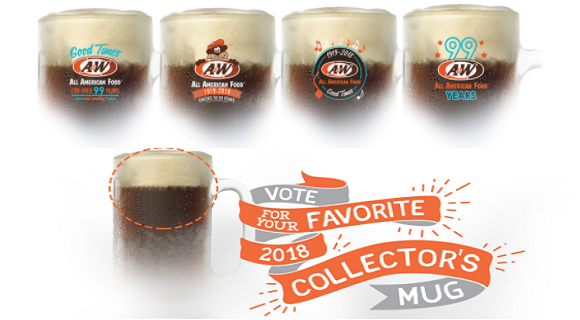 50 WINNERS! Vote for your favorite A&W mug design for your chance to winone of your very own