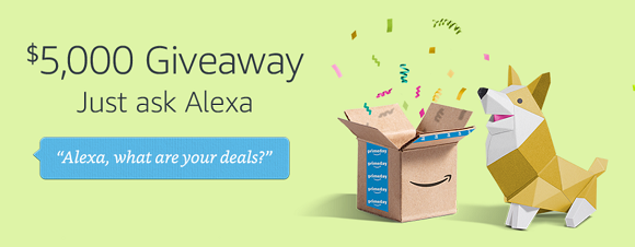 Alexa is giving away $5,000 in Amazon.com Gift Cards to one lucky customer this Prime Day. To be entered for a chance to win, all you have to do is ask your Amazon Alexa device,