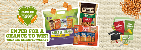 Enter for your chance to win weekly prizes from Snyder's of Hanover including $2,500 in cash, tablets, prepaid gift cards and more