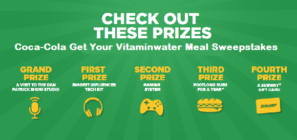 Enter the Coca-Cola Get Your Vitaminwater Meal Sweepstakes for your chance to meetDan Patrick in New York City or win one of 200 other prize