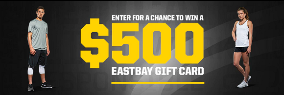Enter for your chance to win a $100, $250 or $500 EASTBAY gift card. There will be fifteen winners total in theEastbay Pick Your Kicks Sweepstakes