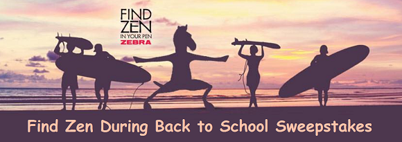 Every week from now until the end of August, Zebra Pen is giving away a backpack filled with school supplies, including a Zen figurine and your favorite Zebra pens & pencils.