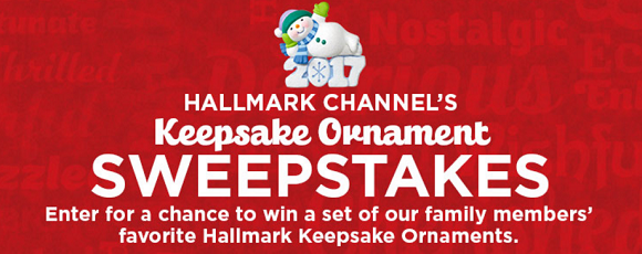 Hallmark Channel is celebrating Christmas early by giving away a set of their family members' favorite ornaments EVERYDAY. Enter the Keepsake Ornament sweepstakes today!