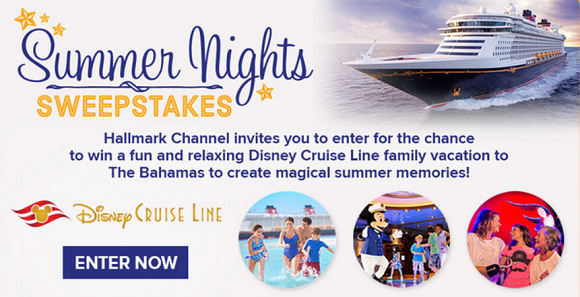 Hallmark Channel invites you to enter for the chance to win a fun and relaxing Disney Cruise Line family vacation to The Bahamas to create magical summer memories.